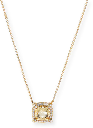 David Yurman Petite Chatelaine Pave Bezel Pendant Necklace in 18K Yellow Gold with Citrine