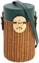 Miu Miu Rattan & Leather Shoulder Bag