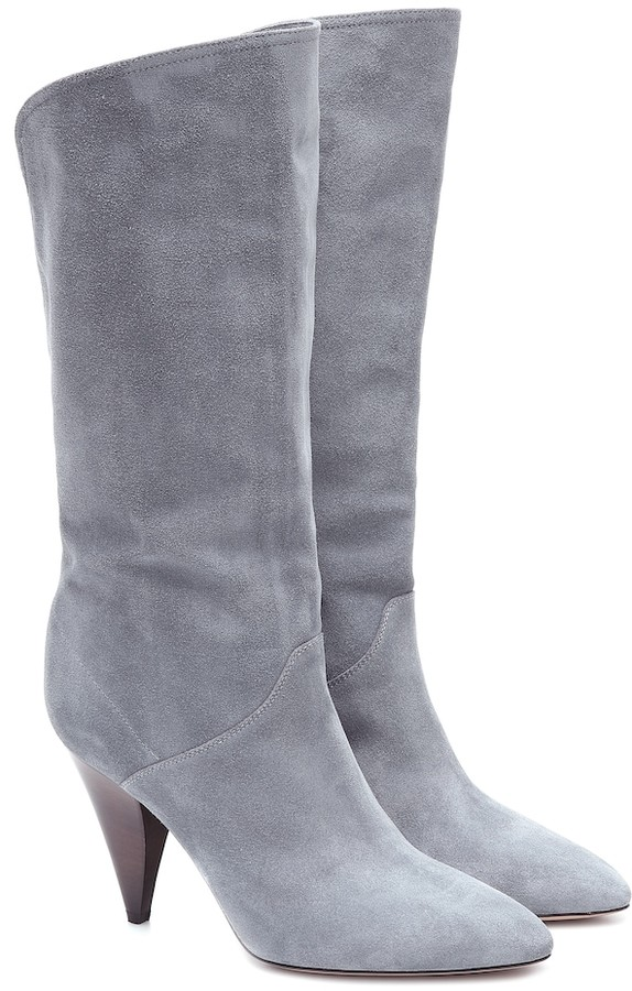 grey suede slouch boots