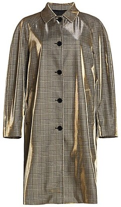 MSGM Shiny Prince Of Wales Check Trench Coat