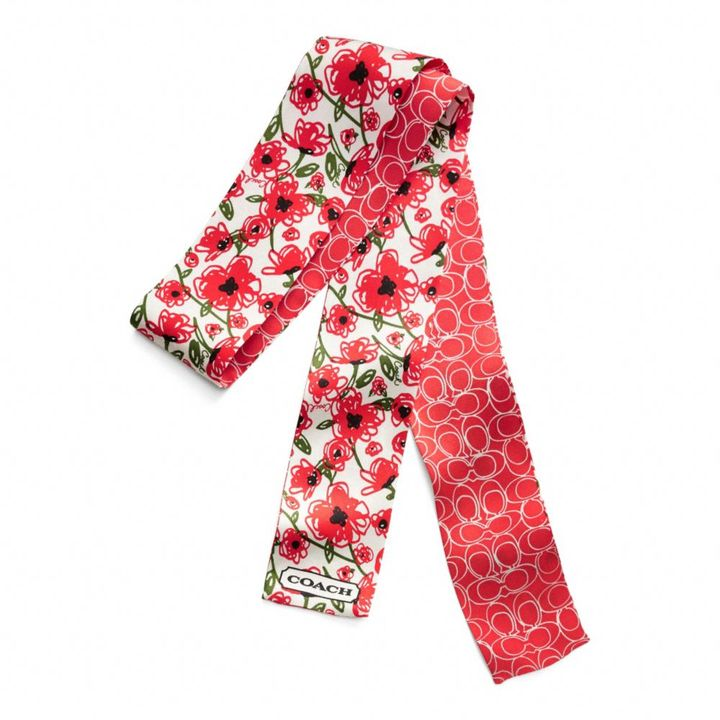 Coach Poppy Floral Long Ponytail Scarf