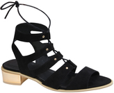Yours Clothing Black Lace-Up Gladiator Style Sandals With Gold Block Heel In E Fit