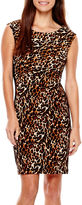 Tiana B Cap-Sleeve Animal Print Panel Sheath Dress - Petite