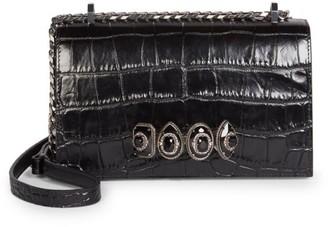 Alexander McQueen Jewelled Croc-Embossed Leather Satchel