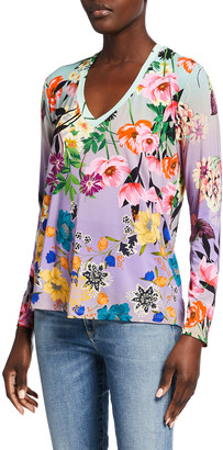 Johnny Was Floral-Print Long-Sleeve V-Neck Tee