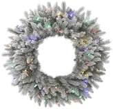 "Vickerman 36"" Frost Sable Pine Wreath, 100 LED Multi-colored"