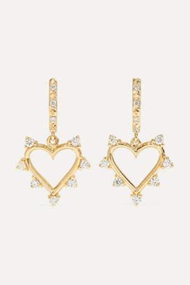 Marlo Laz Open Heart 14-karat Gold Diamond Hoop Earrings - one size