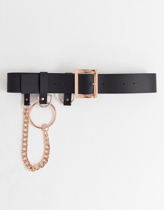 Asos DESIGN chain and ring waist belt in rose gold