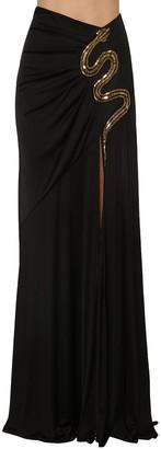 Roberto Cavalli Jersey Long Skirt With Golden Snake