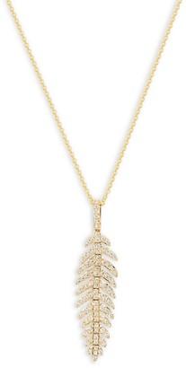 Effy 14K Yellow Gold Diamond Feather Pendant Necklace