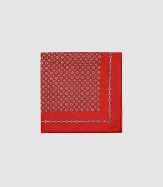 Reiss Raheem - Medallion Printed Silk Pocket Square in Red