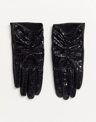 Asos Design DESIGN vinyl croc and leather mix touch screen gloves