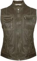 Women's Dark Green Washed Leather Vest