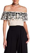Nicole Miller Off-the-Shoulder Embroidered Silk Shirt