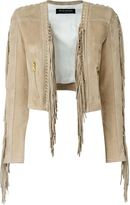 Balmain fringed cropped jacket - women - Cotton/Lamb Skin/Viscose - 38