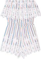 Miguelina Alejandra crochet-trimmed striped cotton playsuit