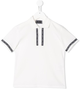 Versace Short-Sleeved Logo Band Polo Shirt