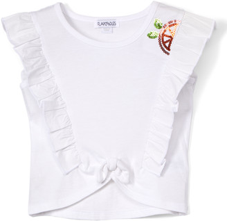 Flapdoodles Girls' Tee Shirts White - White Ruffle Tie-Front Tee - Toddler