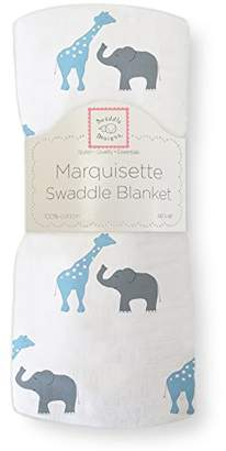 Swaddle Designs Marquisette Swaddling Blanket, Premium Cotton Muslin, Blue Safari Fun