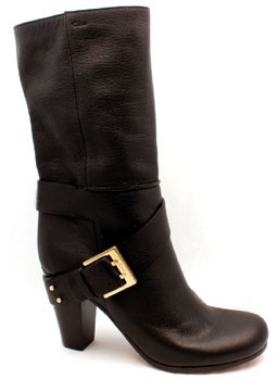 """Chloé CH19041"""" Brown Leather High Heel Mid-Calf Buckled Boot"""