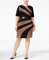 Connected Plus Size Belted Faux-Suede Sheath Dress
