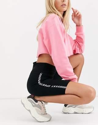 DKNY high waist legging with criss cross detail-Black