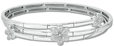 Zales 1/3 CT. T.W. Diamond Flower Wrap Bangle in Sterling Silver