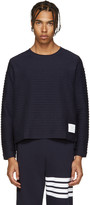 Thom Browne Navy Rope Stitched Pullover