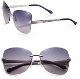 Roberto Cavalli Rimless Crystal-Embellished Sunglasses/Smoke