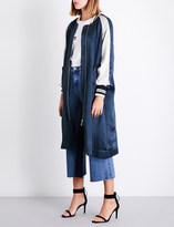 Mo&Co. Oversized embroidered satin bomber jacket