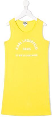 Karl Lagerfeld Paris Logo Printed Sleeveless Shift Dress