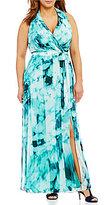 London Times Plus Ikat-Print Faux-Wrap Maxi Dress