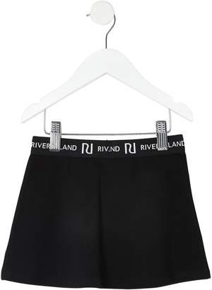River Island Mini Girls Waistband Flippy Skirt-Black