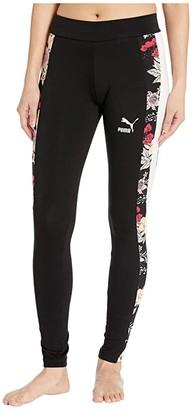 Puma Trend All Over Print Leggings (Black Floral) Women's Casual Pants