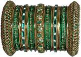 Indian Bridal Collection! Panache' Green Bangles Set in Gold Tone By BangleEmporium