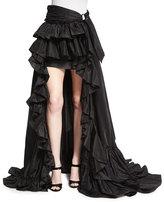 Roberto Cavalli High-Low Ruffled Skirt, Black