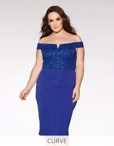 Quiz Curve Royal Blue Glitter Lace Midi Dress