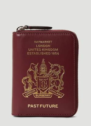 Burberry Logo Embossed Zip-Around Wallet