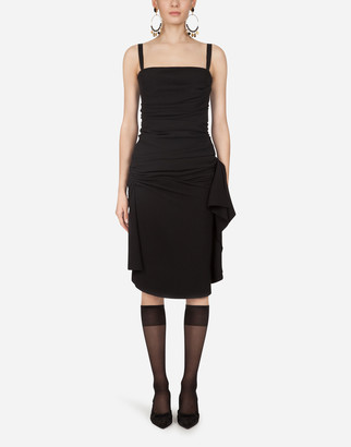 Dolce & Gabbana Longuette Dress In Tulle With Draping