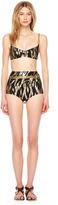 Michael Kors Metallic Ikat-Print Retro Bikini