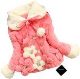 xhorizon TM FL1 Baby Girls Kids Toddler Warm Winter Flower Faux Fur Jacket Coat (Watermelon red,2 Years)