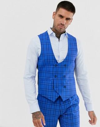 Harry Brown wedding slim fit bold blue check suit vest