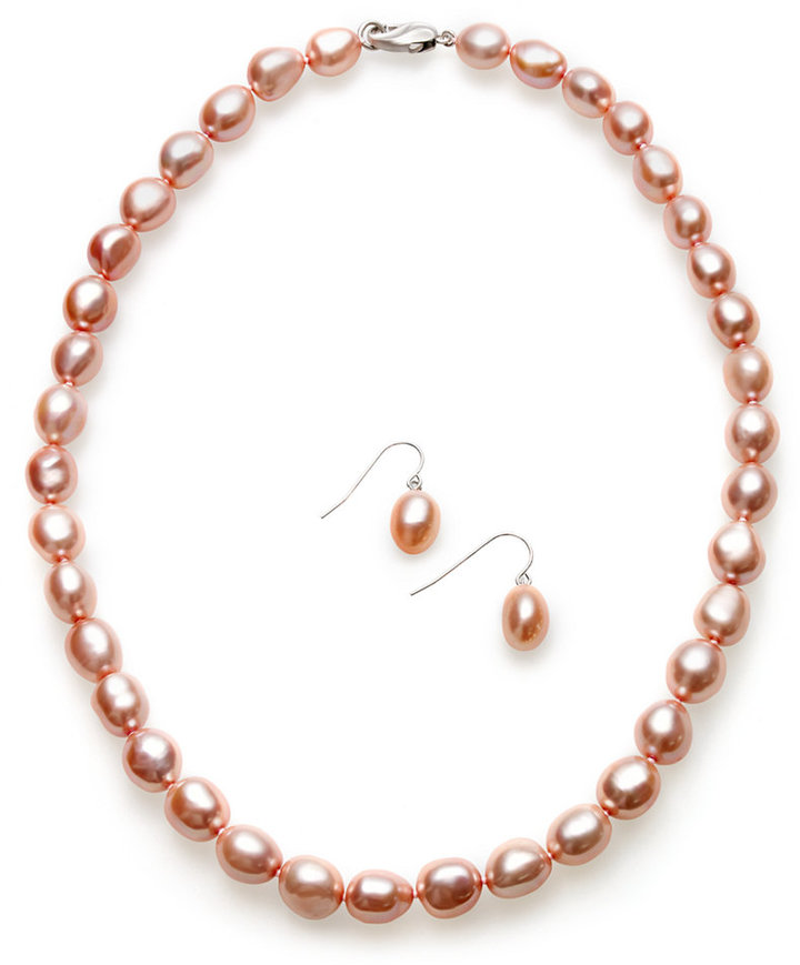 Honora Fresh by Pearl Jewelry Set, Sterling Silver Rose Cultured Freshwater Pearl Necklace and Earrings Set (8-10mm)