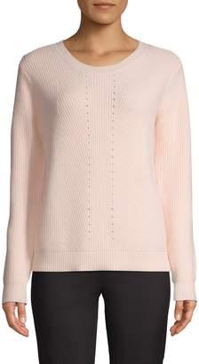 Halston H Ribbed Round Neck Sweater