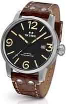 TW Steel Maverick Leather Strap Watch, 48mm