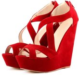 fereshte Women's Faux Velvet Gladiator Strappy Dress Platform High Wedge Sandals EU 35 - US 5.5