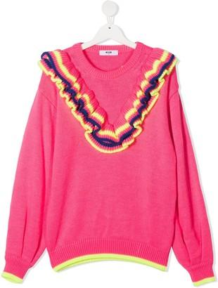 Msgm Kids TEEN ruffle-trim embroidered logo jumper