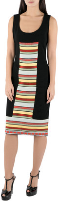 Fendi Black Rib Knit Multicolor Stripe Paneled Sleeveless Sheath Dress M