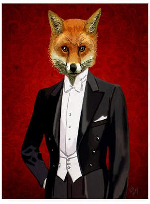 "Fab Funky Fox in Evening Suit, Portrait Canvas Art - 27"" x 33.5"""