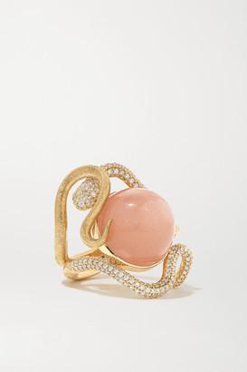 OLE LYNGGAARD COPENHAGEN Snakes 18-karat Gold, Moonstone And Diamond Ring - 52